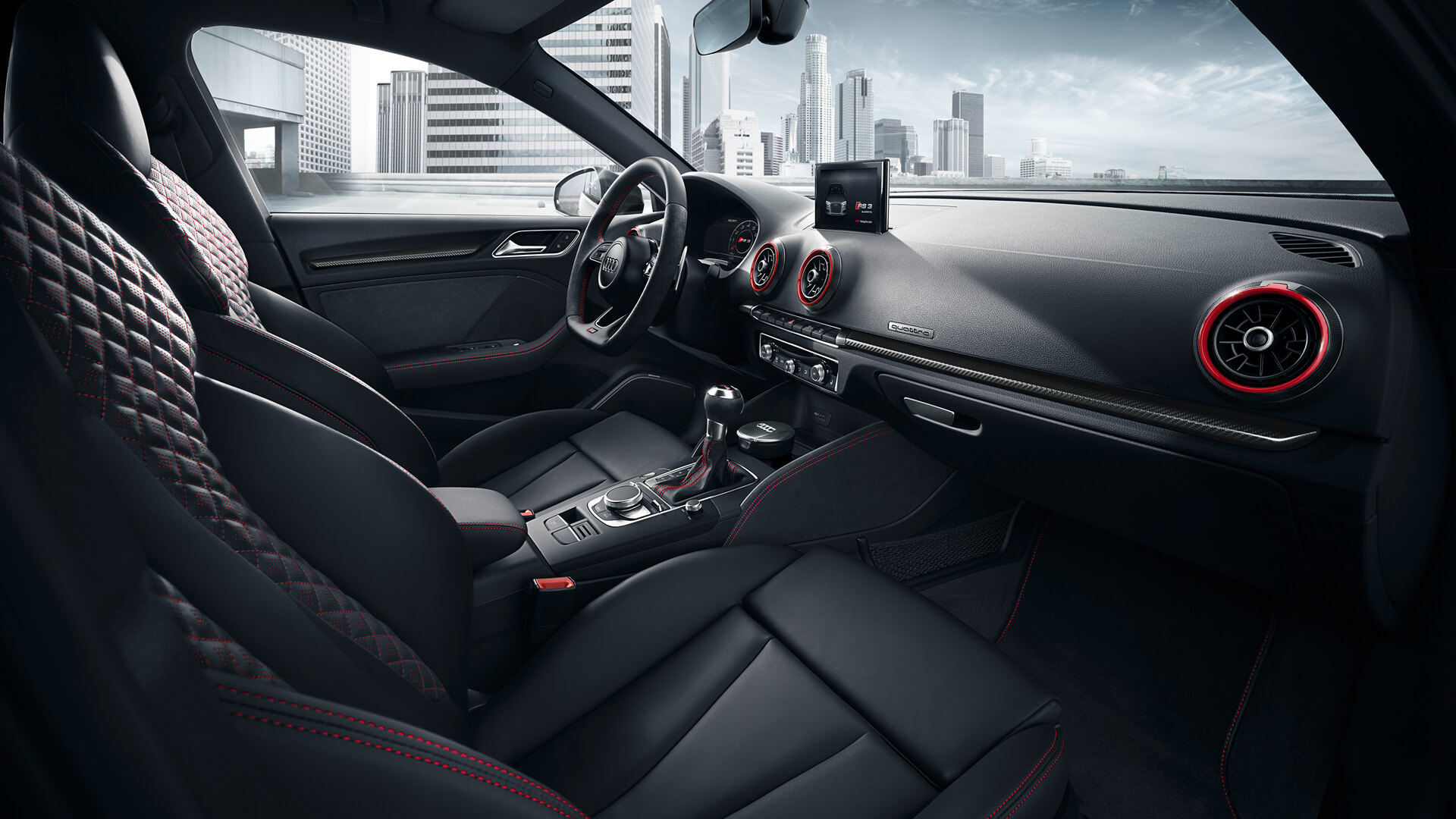 The interior cabin of the Audi RS 3