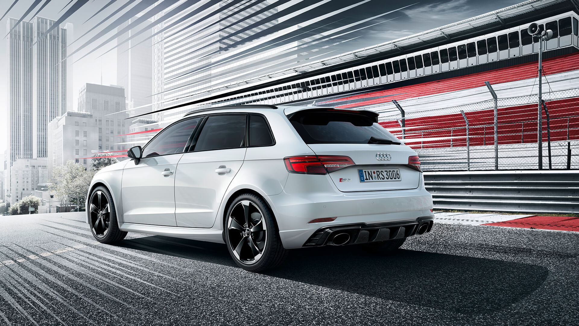 White Audi RS3 sportback from the rear