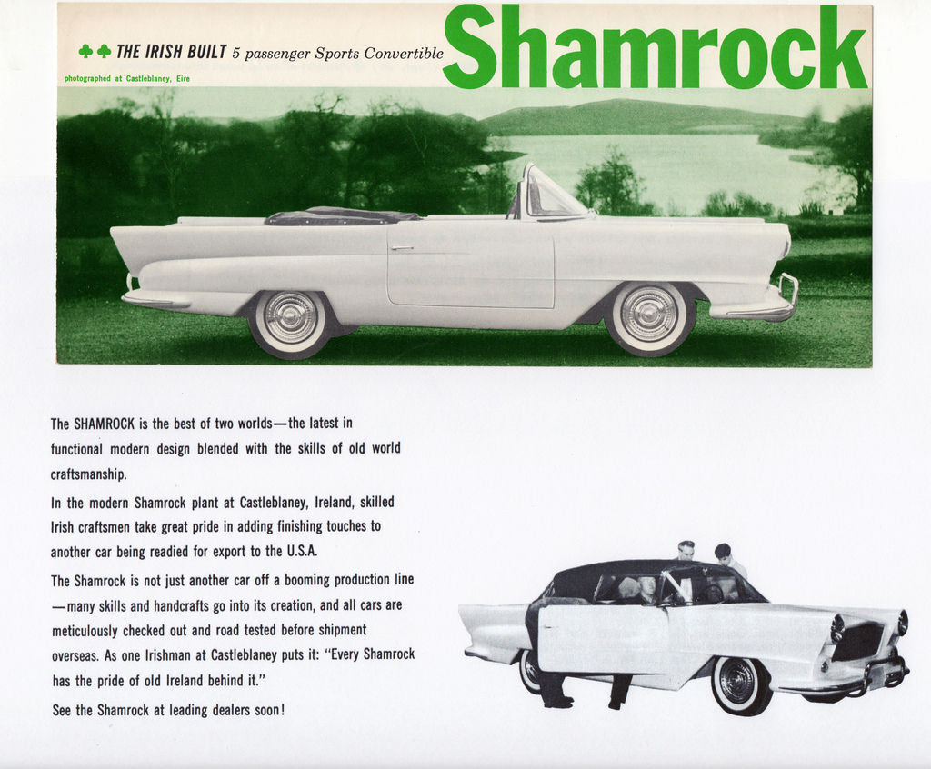 Old advert for the Irish built Shamrock car
